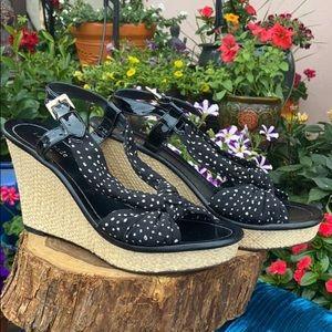 Retro Kate Spade Polka Dot Wedge Sandals Sz 8.5